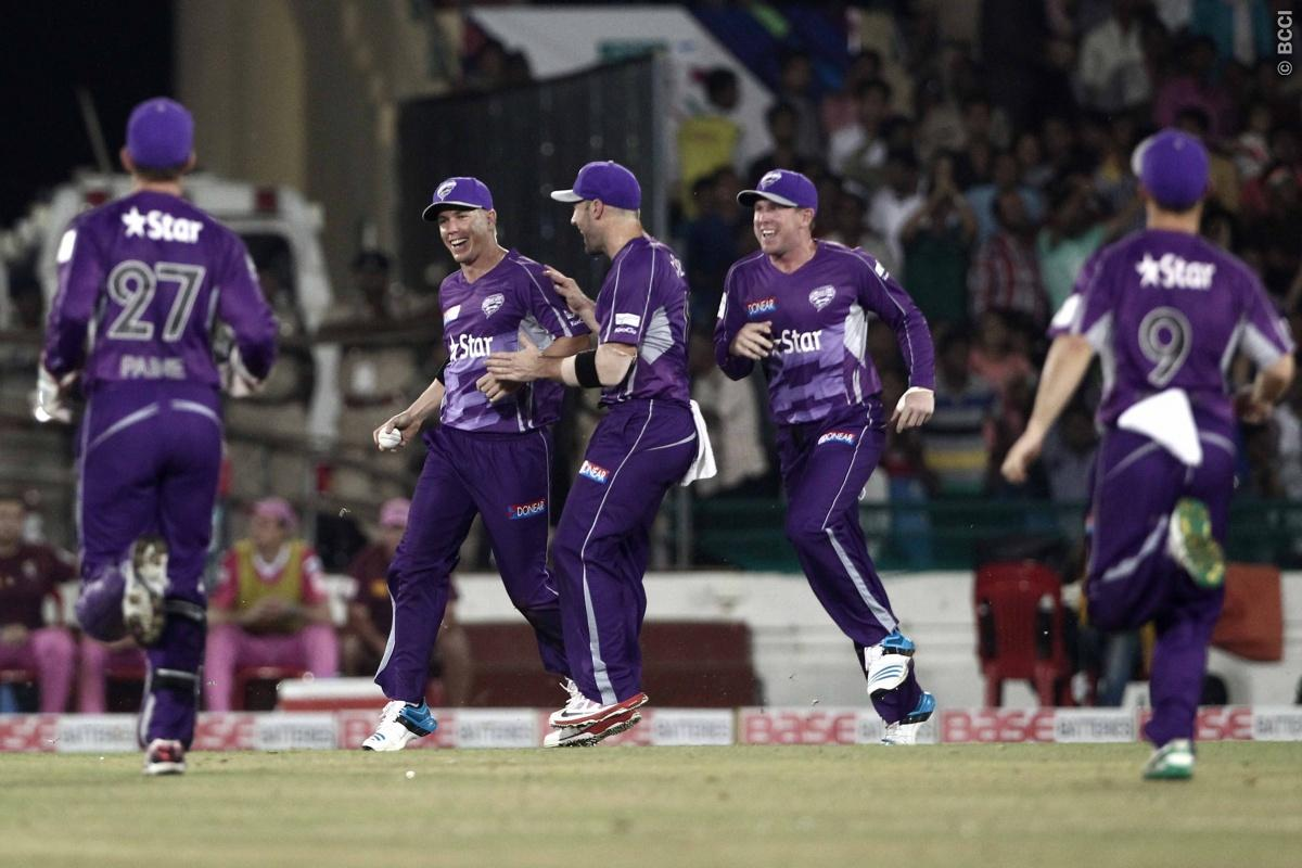 Xavier Doherty of Hobart  Hurricanes celebrates the wicket of  Kane Williamson of the NORTHERN KNIGHTS during match 9 of the Oppo Champions League Twenty20 between the Hobart Hurricanes and the Northern knights held at the Chhattisgarh International Cricket Stadium, Raipur, India on the 23rd September 2014  Photo by:  Deepak Malik / Sportzpics/ CLT20   Image use is subject to the terms and conditions as laid out by the BCCI/ CLT20.  The terms and conditions can be downloaded here:  http://sportz