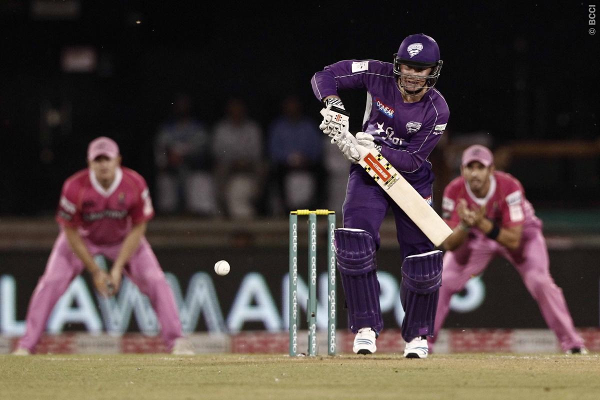 Ben Dunck of Hobart Hurricanes bats  during match 9 of the Oppo Champions League Twenty20 between the Hobart Hurricanes and the Northern knights held at the Chhattisgarh International Cricket Stadium, Raipur, India on the 23rd September 2014  Photo by:  Deepak Malik / Sportzpics/ CLT20   Image use is subject to the terms and conditions as laid out by the BCCI/ CLT20.  The terms and conditions can be downloaded here:  http://sportzpics.photoshelter.com/gallery/CLT20-Image-Terms-and-Conditions-201