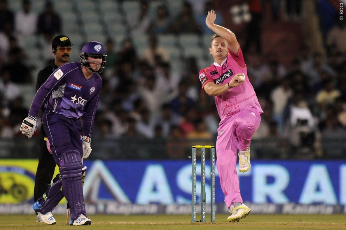 Scott Styris of Northern Knights bowls during match 9 of the Oppo Champions League Twenty20 between the Hobart Hurricanes and the Northern knights held at the Chhattisgarh International Cricket Stadium, Raipur, India on the 23rd September 2014  Photo by:  Pal Pillai / Sportzpics/ CLT20   Image use is subject to the terms and conditions as laid out by the BCCI/ CLT20.  The terms and conditions can be downloaded here:  http://sportzpics.photoshelter.com/gallery/CLT20-Image-Terms-and-Conditions-201