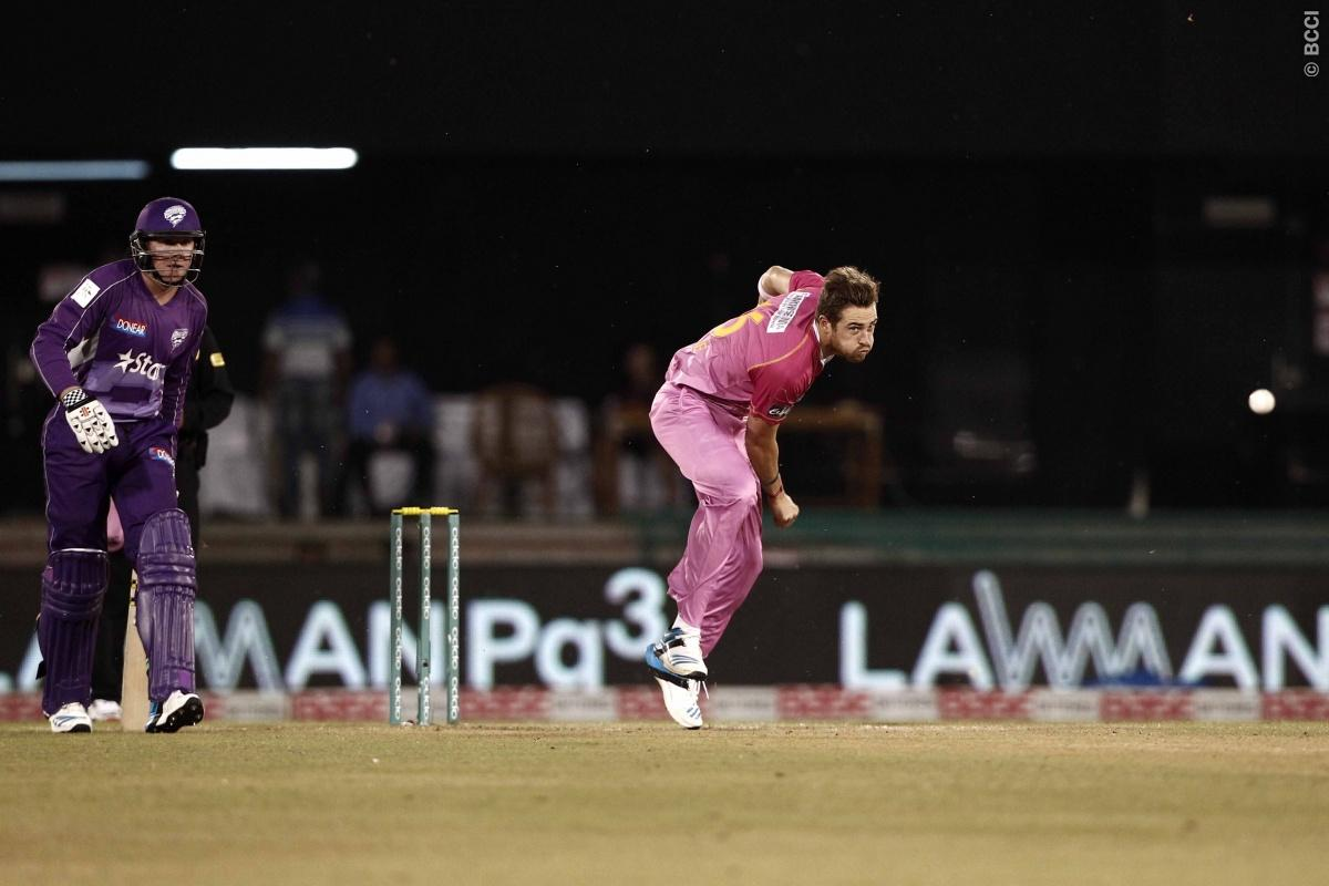 Tim Southee of the NORTHERN KNIGHTS bowls during match 9 of the Oppo Champions League Twenty20 between the Hobart Hurricanes and the Northern knights held at the Chhattisgarh International Cricket Stadium, Raipur, India on the 23rd September 2014  Photo by:  Deepak Malik / Sportzpics/ CLT20   Image use is subject to the terms and conditions as laid out by the BCCI/ CLT20.  The terms and conditions can be downloaded here:  http://sportzpics.photoshelter.com/gallery/CLT20-Image-Terms-and-Condition