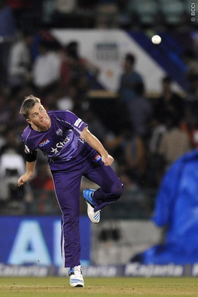 Xavier Doherty of Hobart Hurricanes bowls during match 9 of the Oppo Champions League Twenty20 between the Hobart Hurricanes and the Northern knights held at the Chhattisgarh International Cricket Stadium, Raipur, India on the 23rd September 2014  Photo by:  Pal Pillai / Sportzpics/ CLT20   Image use is subject to the terms and conditions as laid out by the BCCI/ CLT20.  The terms and conditions can be downloaded here:  http://sportzpics.photoshelter.com/gallery/CLT20-Image-Terms-and-Conditions-