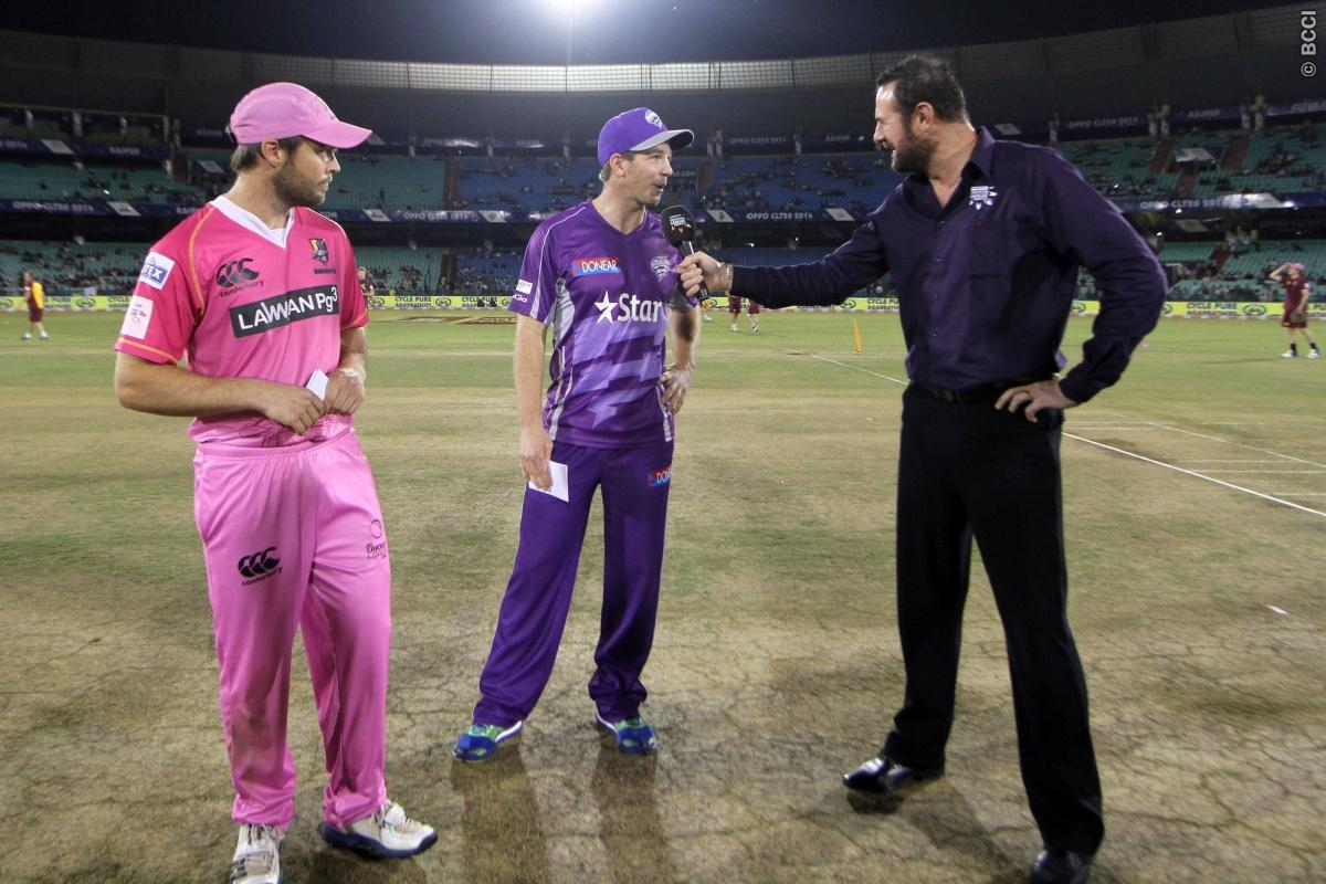 NORTHERN KNIGHTS won the toss and chose the ball first during match 9 of the Oppo Champions League Twenty20 between the Hobart Hurricanes and the Northern knights held at the Chhattisgarh International Cricket Stadium, Raipur, India on the 23rd September 2014  Photo by:  Deepak Malik / Sportzpics/ CLT20   Image use is subject to the terms and conditions as laid out by the BCCI/ CLT20.  The terms and conditions can be downloaded here:  http://sportzpics.photoshelter.com/gallery/CLT20-Image-Terms-