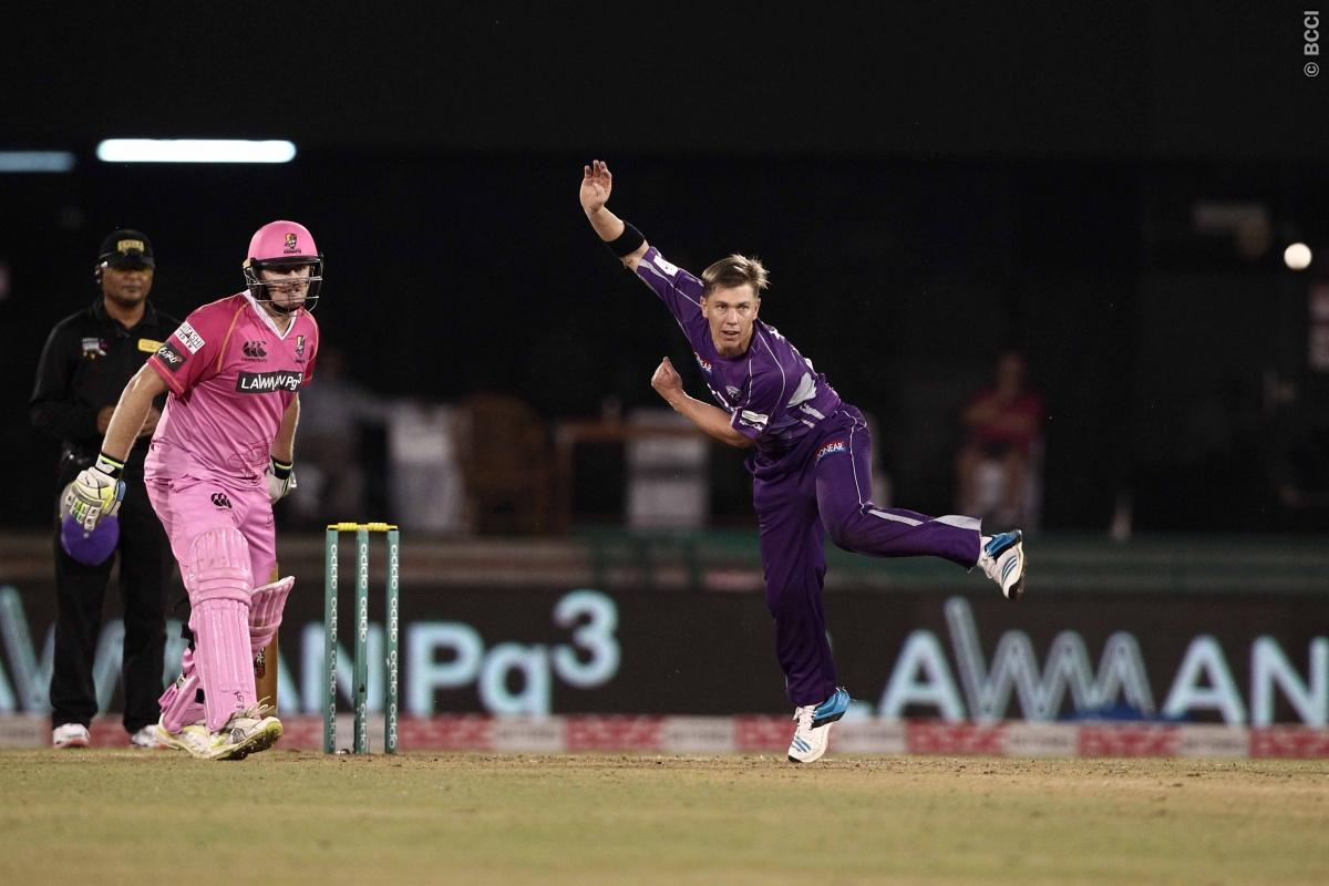 Xavier Doherty of Hobart Hurricanes during match 9 of the Oppo Champions League Twenty20 between the Hobart Hurricanes and the Northern knights held at the Chhattisgarh International Cricket Stadium, Raipur, India on the 23rd September 2014  Photo by:  Deepak Malik / Sportzpics/ CLT20   Image use is subject to the terms and conditions as laid out by the BCCI/ CLT20.  The terms and conditions can be downloaded here:  http://sportzpics.photoshelter.com/gallery/CLT20-Image-Terms-and-Conditions-2014