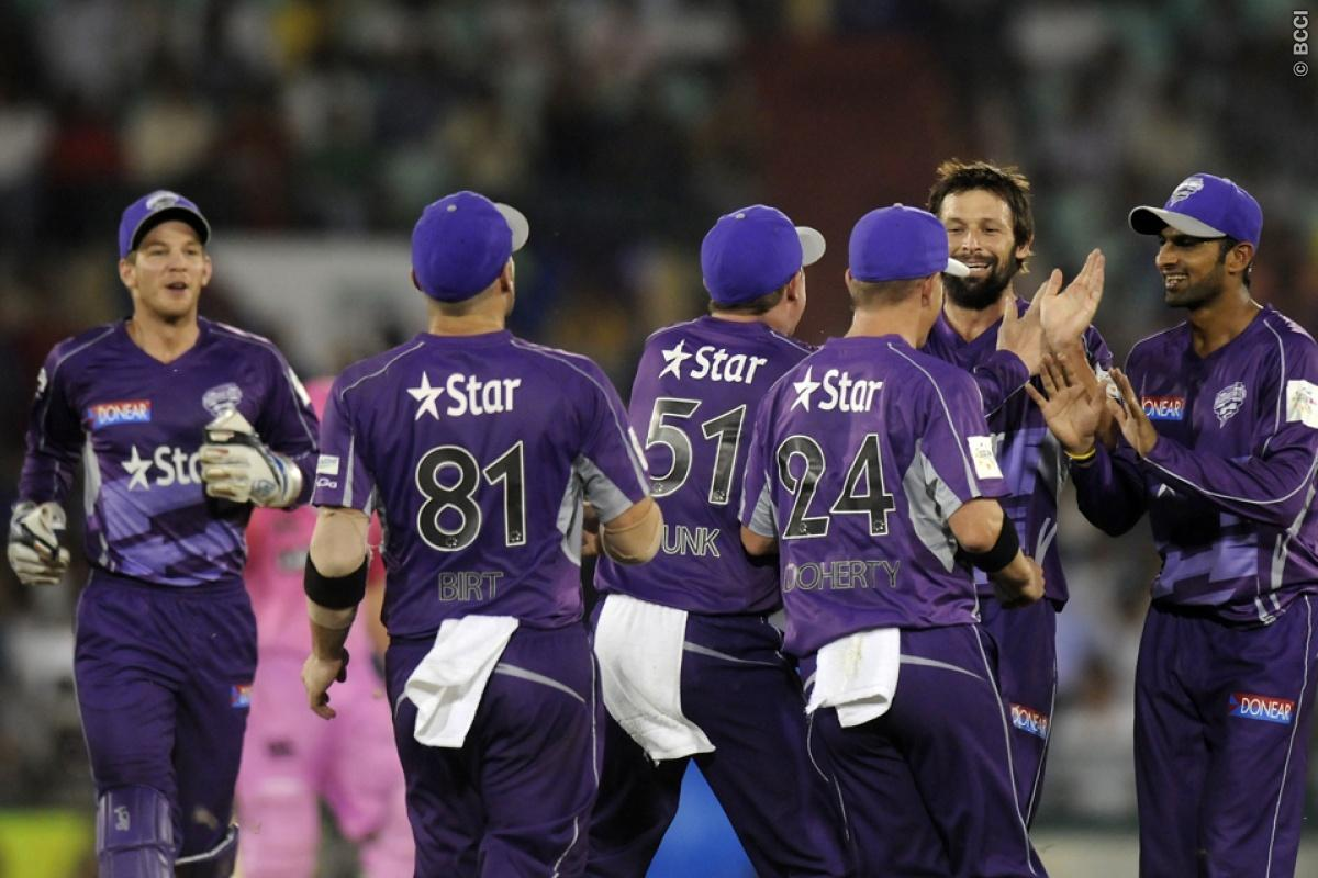 Ben Hilfenhaus of Hobart Hurricanes celebrates the wicket of Kane Williamson of Northern Knights during match 9 of the Oppo Champions League Twenty20 between the Hobart Hurricanes and the Northern knights held at the Chhattisgarh International Cricket Stadium, Raipur, India on the 23rd September 2014  Photo by:  Pal Pillai / Sportzpics/ CLT20   Image use is subject to the terms and conditions as laid out by the BCCI/ CLT20.  The terms and conditions can be downloaded here:  http://sportzpics.ph