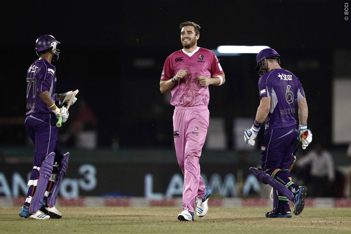 Tim Southee of the NORTHERN KNIGHTS celebrates the wicket of Aiden Blizzard of Hobart Hurricanes during match 9 of the Oppo Champions League Twenty20 between the Hobart Hurricanes and the Northern knights held at the Chhattisgarh International Cricket Stadium, Raipur, India on the 23rd September 2014  Photo by:  Deepak Malik / Sportzpics/ CLT20   Image use is subject to the terms and conditions as laid out by the BCCI/ CLT20.  The terms and conditions can be downloaded here:  http://sportzpics.p