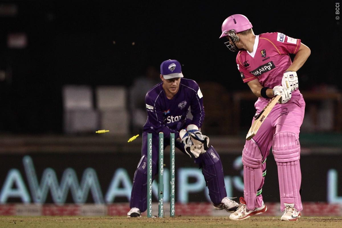 Scott Kuggeleijn of the NORTHERN KNIGHTS bowled by Xavier Doherty of Hobart Hurricanes during match 9 of the Oppo Champions League Twenty20 between the Hobart Hurricanes and the Northern knights held at the Chhattisgarh International Cricket Stadium, Raipur, India on the 23rd September 2014  Photo by:  Deepak Malik / Sportzpics/ CLT20   Image use is subject to the terms and conditions as laid out by the BCCI/ CLT20.  The terms and conditions can be downloaded here:  http://sportzpics.photoshelte