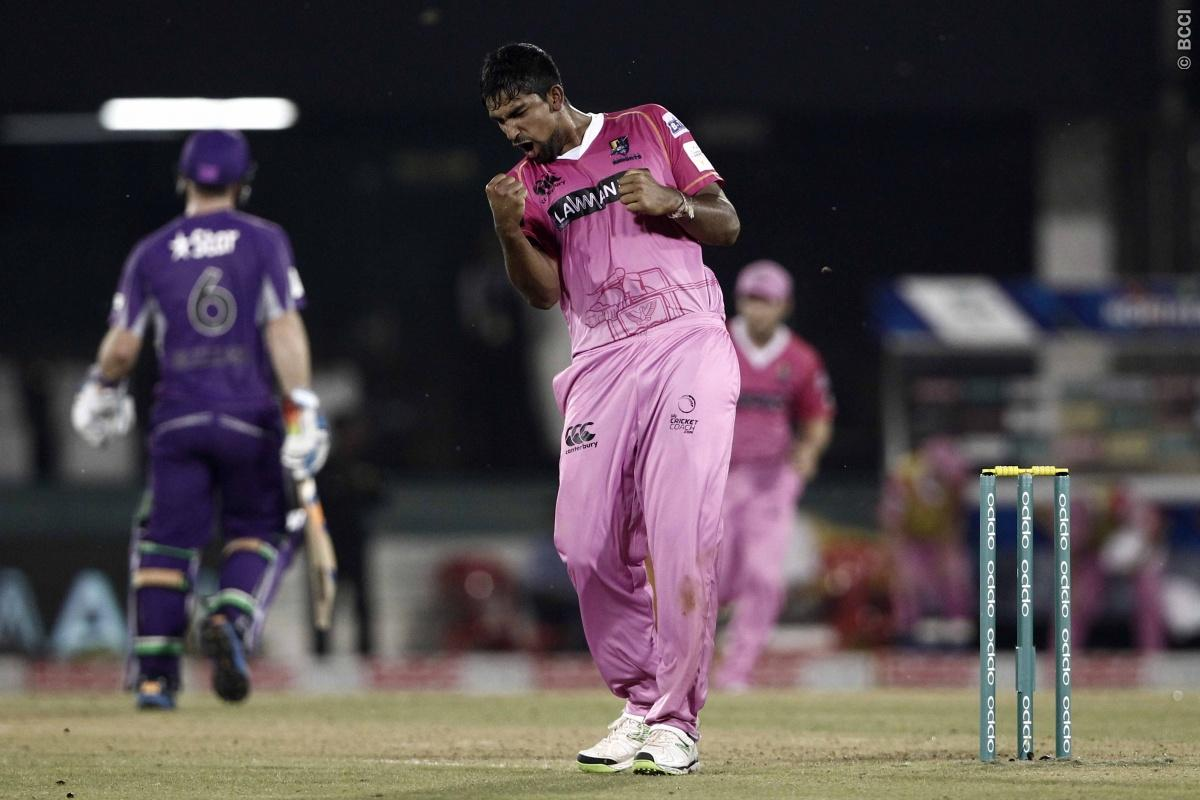 Ish Sodhi of the NORTHERN KNIGHTS celebrates the wicket of Tim Paine captain of Hobart Hurricanes during match 9 of the Oppo Champions League Twenty20 between the Hobart Hurricanes and the Northern knights held at the Chhattisgarh International Cricket Stadium, Raipur, India on the 23rd September 2014  Photo by:  Deepak Malik / Sportzpics/ CLT20   Image use is subject to the terms and conditions as laid out by the BCCI/ CLT20.  The terms and conditions can be downloaded here:  http://sportzpics.