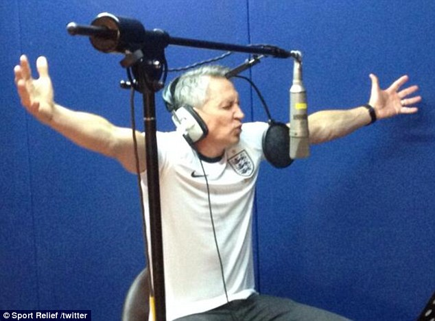 Going for it: Gary appears to fancy himself as a bit of a singer as he blasts out the song