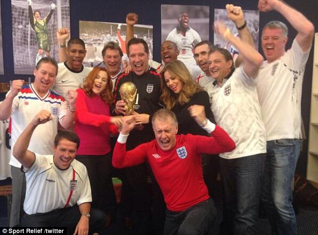 Winning team: The stars recording the official England World Cup song in their England kits