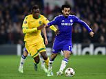 Sporting Lisbon's Silva William Carvalho (left) and Chelsea's Mohamed Salah battle for the ball during the UEFA Champions League Group G match at Stamford Bridge, London. PRESS ASSOCIATION Photo. Picture date: Wednesday December 10, 2014. See PA story SOCCER Chelsea. Photo credit should read: Adam Davy/PA Wire.