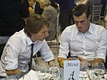 epa04523148 Real Madrid's Croatian midfielder Luka Modric (L) and Welsh midifielder Gareth Bale (R) attend the Christmas traditional lunch of the club held in Madrid, Spain on 10 December 2014.  EPA/EMILIO NARANJO