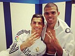 Ronaldo took to Instagram after the game to celebrate his hat-trick with Real Madrid team-mate Pepe (right)