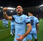 Pablo Zabaleta of Manchester City celebrates scoring his goal to make the score 0-2
