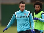 Chelsea FC via Press Association Images MINIMUM FEE 40GBP PER IMAGE - CONTACT PRESS ASSOCIATION IMAGES FOR FURTHER INFORMATION. Chelsea's John Terry, Willian during a training session at the Cobham Training Ground on 12th December 2014 in Cobham, England.