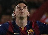 Barcelona's Lionel Messi reacts after scoring the first goal of his team during a Group F Champions League soccer match between FC Barcelona and PSG at the Camp Nou stadium in Barcelona, Spain, Wednesday Dec. 10, 2014. (AP Photo/Emilio Morenatti)