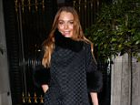 (PAPERS ONLY) Actress Lindsay Lohan attends Evgeny Lebedev's Christmas Party in London, UK. 11/12/2014..BYLINE MUST READ : KP/JAMESY/GOTCHA IMAGES....Copyright by © Gotcha Images Ltd. All rights reserved...Usage of this image is conditional upon the acceptance ..of Gotcha Images Ltd, terms and conditions available at..www.gotchaimages.com