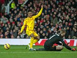 Dce 14th 2014 - Manchester, UK - MANCHESTER UTD V LIVERPOOL - Liverpool Sterling saved shot by Man Utd De Gea PIcture by Ian Hodgson/Daily Mail