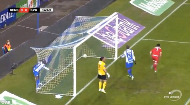 The ball ends up in the net as Kortrijk look to have taken the lead inside the opening 15 minutes
