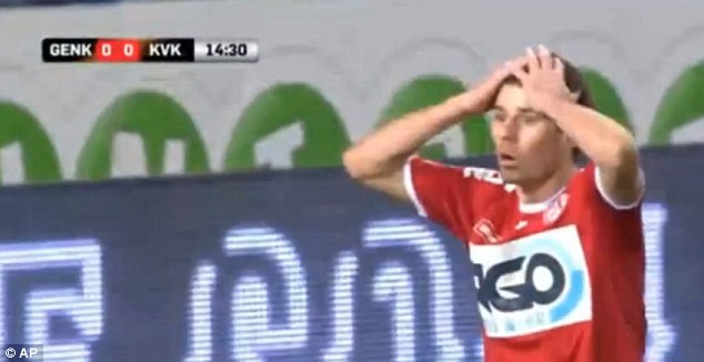 A Kortrijk looks on in disbelief after the award of a ghost corner as opposed to a goal