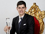 Best sportman of the year, soccer goalkeeper Thibaut Courtois pictured during the gala evening for the sport man and woman of the year 2014 awards in Belgium, Sunday 14 December 2014, in De Panne.  DIRK WAEM