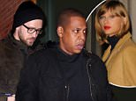 Jay Z  and Justin Timberlake leaving Taylor Swift's apartment in NYC. Are they friends or working on something together? \nDecember 15, 2014  X17online.com