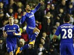 Chelsea's Eden Hazard (C) celebrates his goal against Derby County during their English League Cup quarter-final soccer match at the iPro Stadium in Derby, central England, December 16, 2014. REUTERS/Darren Staples   (BRITAIN - Tags: SPORT SOCCER)