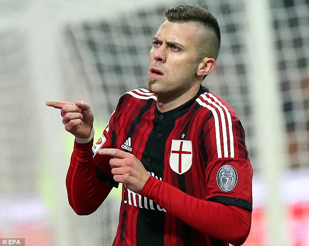 Jeremy Menez celebrates scoring the opening goal of the evening in the Serie A clash with Napoli