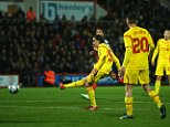 BOURNEMOUTH, ENGLAND - DECEMBER 17: Lazar Markovic of Liverpool scores his team's second goal during the Capital One Cup Quarter-Final match between Bournemouth and Liverpool at Goldsands Stadium on December 17, 2014 in Bournemouth, England.  (Photo by Bryn Lennon/Getty Images)