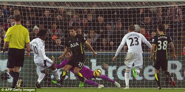 Bony (left) slots the ball past Hugo Lloris in the Spurs goal as the Tottenham defence can only look on