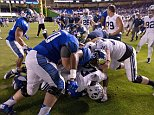 MIAMI, FL - DECEMBER 22:  A fight breaks out on the field after the game between the Brigham Young Cougars and the Memphis Tigers at Marlins Park on December 22, 2014 in Miami, Florida.  (Photo by Rob Foldy/Getty Images)