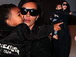 Kim Kardashian and daughter Nori leaving NYC monday morning after quick stay in NY with Kanye Dec 22, 2014 X17online.com\nTyrone/X17online.com