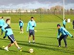 Manchester City FC via Press Association Images MINIMUM FEE 40GBP PER IMAGE - CONTACT PRESS ASSOCIATION IMAGES FOR FURTHER INFORMATION. Manchester City's Stevan Jovetic (left), Fernandinho (centre) and Fernandinho during training