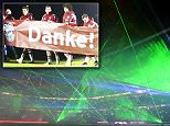 Picture shows a laser show presented after the German first division Bundesliga football match FC Bayern Munich vs SC Freiburg in Munich, southern Germany, on December 16, 2014. AFP PHOTO / CHRISTOF STACHE RESTRICTIONS - DFL RULES TO LIMIT THE ONLINE USAGE DURING MATCH TIME TO 15 PICTURES PER MATCH. FOR FURTHER QUERIES PLEASE CONTACT DFL DIRECTLY AT + 49 69 650050CHRISTOF STACHE/AFP/Getty Images