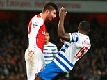 LONDON, ENGLAND - DECEMBER 26:  Olivier Giroud of Arsenal head butts Nedum Onuoha of QPR and is sent off during the Barclays Premier League match between Arsenal and Queens Park Rangers at Emirates Stadium on December 26, 2014 in London, England.  (Photo by Julian Finney/Getty Images)