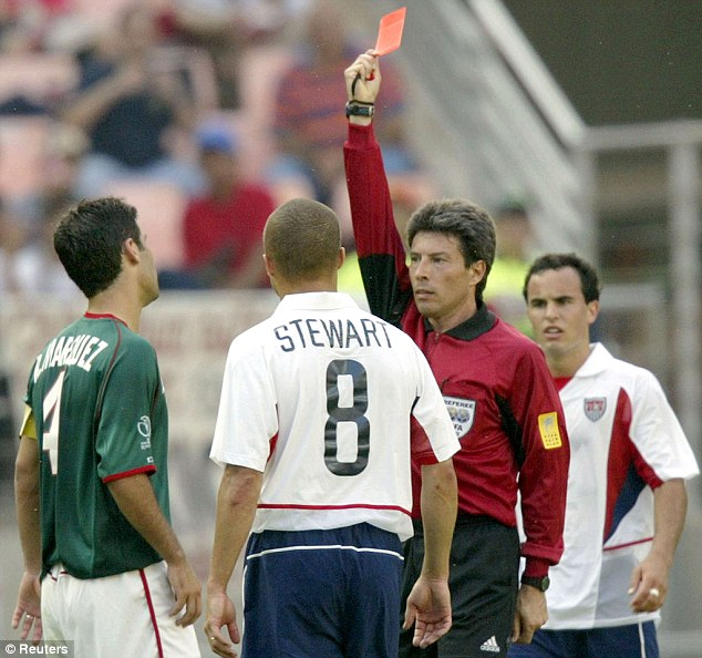Seeing red: Marquez is shown a red card during Mexico's 2-0 Last 16 loss to the United States at the 2002 finals
