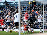 LONDON, ENGLAND - DECEMBER 28:  The ball crosses the Tottenham goal line, but is ruled out for offside during the Barclays Premier League match between Tottenham Hotspur and Manchester United at White Hart Lane on December 28, 2014 in London, England.  (Photo by Michael Regan/Getty Images)