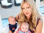APPROVED IMAGE *** EXCLUSIVE FOR FEMAIL IN PRINT FIRST !!! NO SYNDICATION DO NOT REUSE WITHOUT PERMISSION THESE ARE THE FINAL RETOUCHED AVAILABLE SHOTS***  Caprice Bourret with her two and three month old sons Jet (right) and Jax at home in Hollywood.   . REXMAILPIX.
