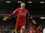 Dec 29th 2014 - Liverpool, UK - LIVERPOOL V SWANSEA - Liverpool Adam Lallana  with an attempt from outside the box to the centre of the goal. PIcture by Ian Hodgson/Daily Mail