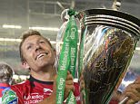 Heineken Cup final, Millenium stadium , Saracens v Toulon, Wales   Picture Andy Hooper Daily Mail/ Solo Syndication.  pic shows  Jonny Wilkinson lifts the cup  Toulon won the game 23-6.