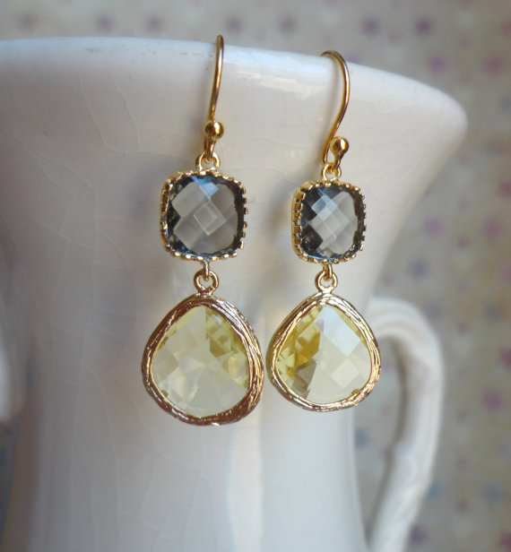 Gorgeous Yellow and Gray Glass Dangle Earrings. Color Block Earrings. Bridesmaid Earrings. Wedding Earrings