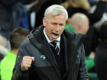 Newcastle United manager Alan Pardew celebrates their first goal scored by Papiss Cisse of Newcastle United