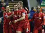 Dec 29th 2014 - Liverpool, UK - LIVERPOOL V SWANSEA - Liverpool cele 4th goal PIcture by Ian Hodgson/Daily Mail