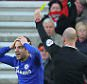 Cesc Fabregas is booked for diving during Southampton v Chelsea, Barclays Premier League, St Mary's Stadium, Southampton, Sunday, 28th December, 2014.