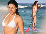 31 DEC 2014 - TULUM - MEXICO *** EXCLUSIVE ALL ROUND PICTURES *** MICHELLE RODRIGUEZ CONTINUES HER WINTER GETAWAY IN TULUM, MEXICO.  ACTRESS MICHELLE LOOKED IN GREAT SHAPE AS SHE WENT FOR A DIP IN THE OCEAN AND HAD SOME FUN PADDLEBOARDING BYLINE MUST READ : XPOSUREPHOTOS.COM ***UK CLIENTS - PICTURES CONTAINING CHILDREN PLEASE PIXELATE FACE PRIOR TO PUBLICATION *** **UK CLIENTS MUST CALL PRIOR TO TV OR ONLINE USAGE PLEASE TELEPHONE  44 208 344 2007**
