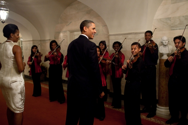 The President And First Lady Greet The Strings For Joy