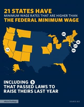 Minimum Wage: 21 States