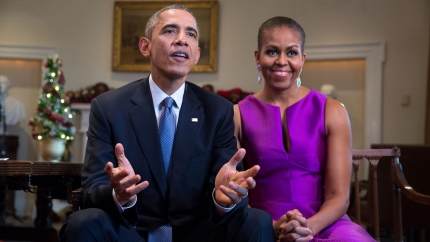President Barack Obama and First Lady Michelle Obama tape the holiday Weekly Address (Dec., 2014)