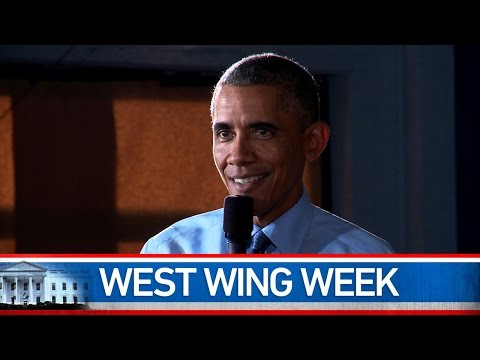Welcome to this special, year-end edition of West Wing Week. We know you all are busy with the holidays, so we'll keep it short. We here at West Wing Week have a word we use to describe the funny bit we put at the end of each episode, and that word is: Sting. So, for the end of the year, we thought we'd string together a little entertaining compilation of stings, for those of you who might not have made it to the very end of every single episode. Enjoy, and see you next year!