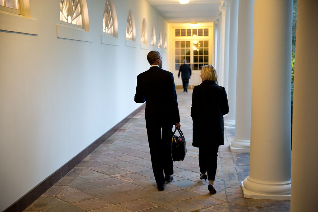 <p>Sept. 19, 2014<br /> &quot;At the end of the day, the President walks along the White House Colonnade with Anita Decker Breckenridge, Deputy Chief of Staff for Operations.&quot;  (Official White House Photo by Pete Souza)<br /> <br /> This official White House photograph is being made available only for publication by news organizations and/or for personal use printing by the subject(s) of the photograph. The photograph may not be manipulated in any way and may not be used in commercial or political materials, advertisements, emails, products, promotions that in any way suggests approval or endorsement of the President, the First Family, or the White House.</p>