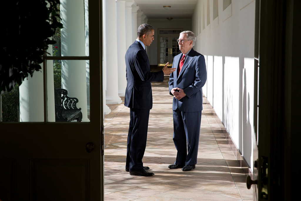 <p>Nov. 7, 2014<br /> &quot;While walking with incoming Senate Majority Leader Mitch McConnell from the Oval Office to a lunch with other Congressional leaders, the President stopped on the White House Colonnade to discuss the upcoming Congressional session.&quot;  (Official White House Photo by Pete Souza)<br /> <br /> This official White House photograph is being made available only for publication by news organizations and/or for personal use printing by the subject(s) of the photograph. The photograph may not be manipulated in any way and may not be used in commercial or political materials, advertisements, emails, products, promotions that in any way suggests approval or endorsement of the President, the First Family, or the White House.</p>